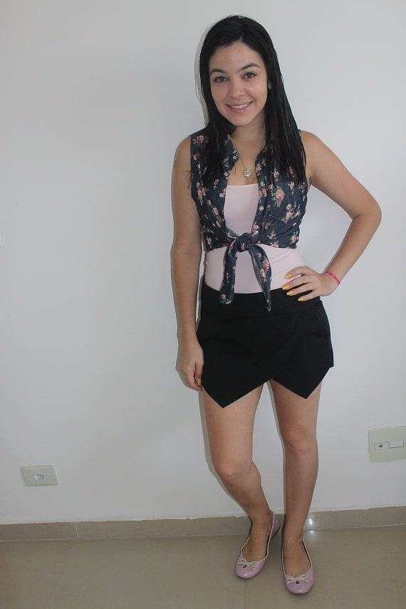 Look do Dia Skort Preto AliExpress Zara Inspired