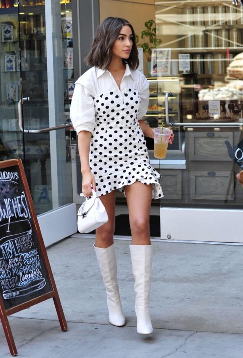 Tendência Poá, tendência bolinha, moda bolinha branca, moda bolinha preta, vestido de bolinha preto, vestido de bolinha branca, vestido de bolinha, vestido de poá, saia de poá, saia de poá preto e branco, saia de poá branco e preta, calça de poá